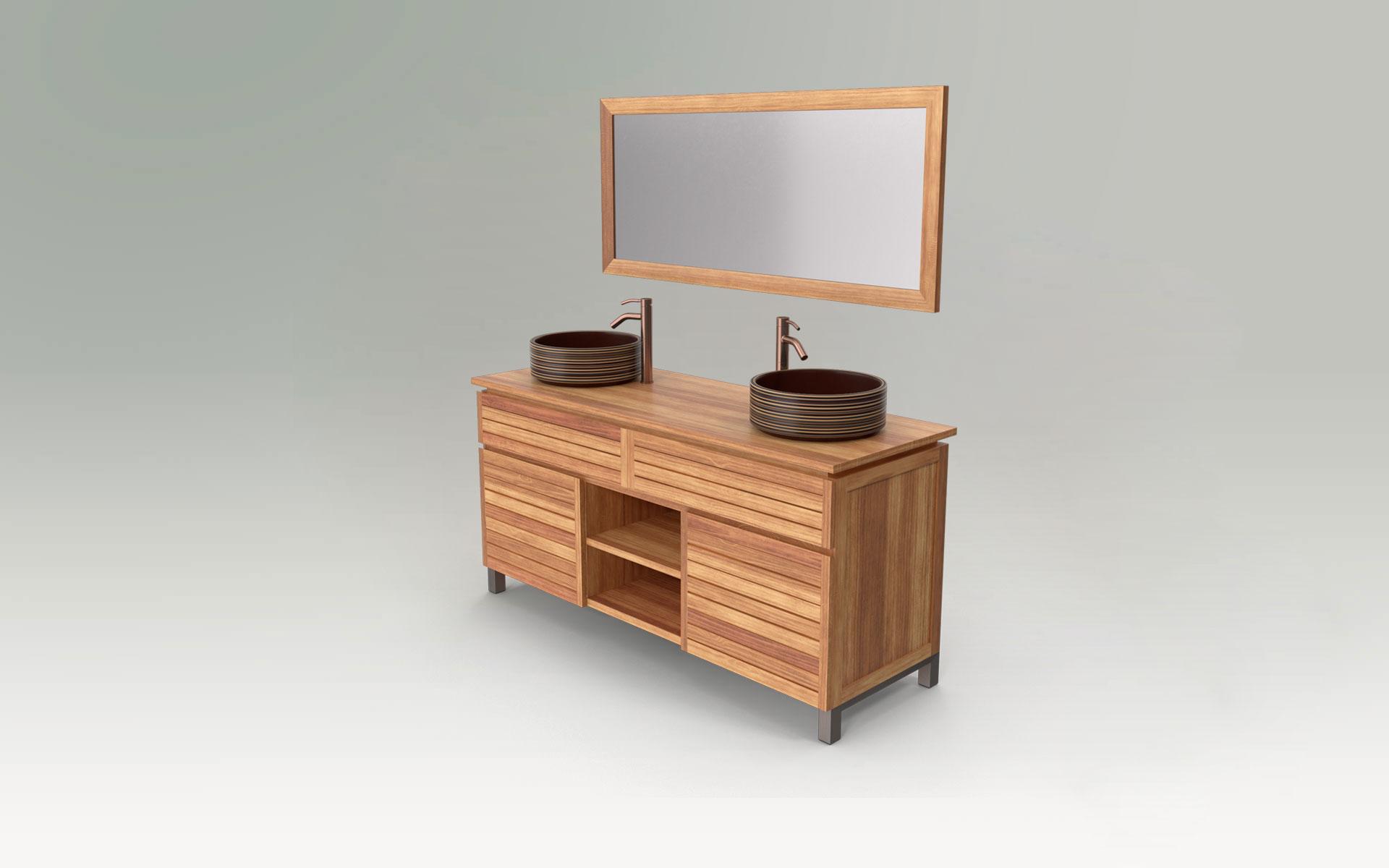 Individuelle Naturholz Möbel für Badezimmer