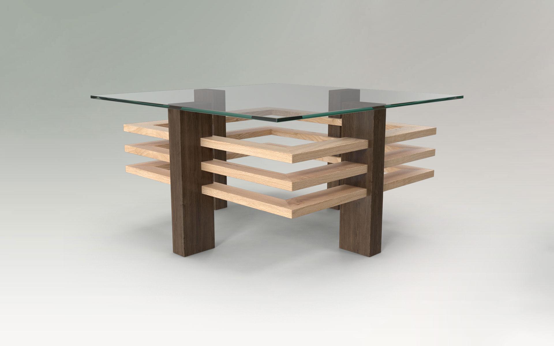 Couchtisch individuell | Couchtisch Custom Design | Massivholz mit Glasplatte
